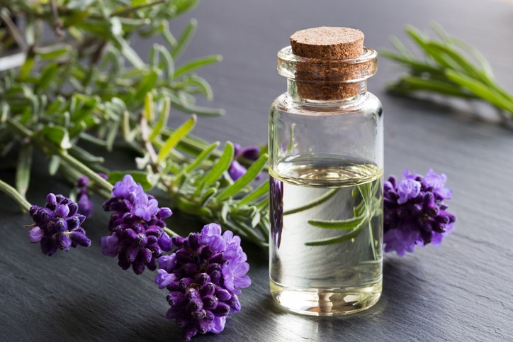 A bottle of lavender essential oil with fresh lavender twigs on a dark background-آروماتراپی
